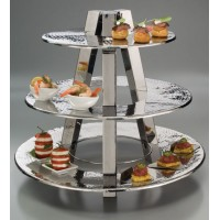 3 Tier Display Stand - Hammered Stainless Steel