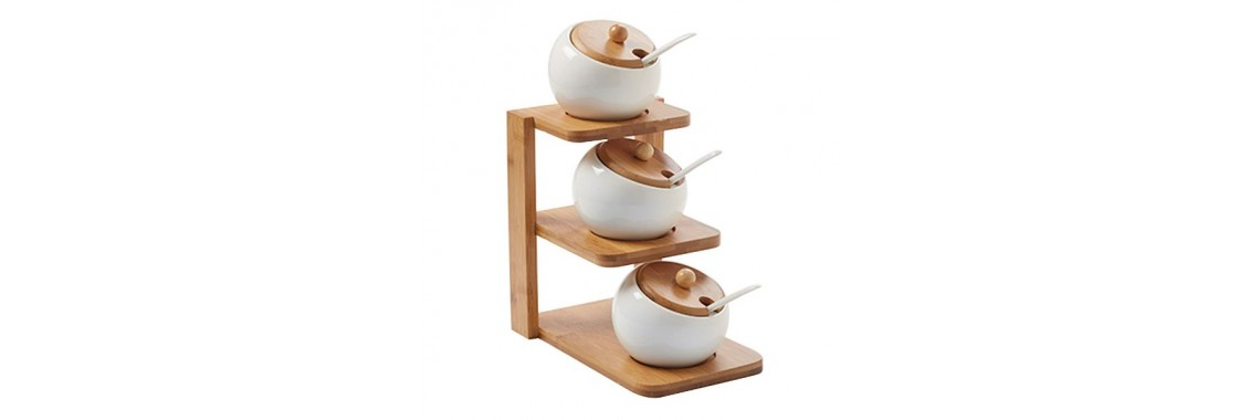 Porcelain Canisters, Lids, Spoons and Rack