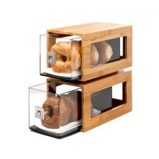 Two-Tier Bamboo Bakery Display Column With Clear Acrylic Drawers