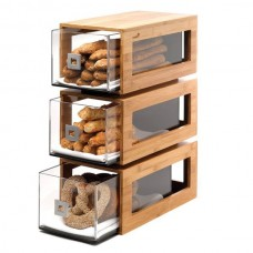 3 Tier Bamboo Bakery Display Column With Clear Acrylic Drawers