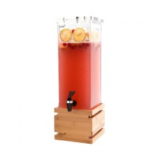 2 Gallon Rectangular Beverage Dispenser - Bamboo Base
