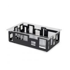 Rectangular Black Matte Ice Tub With Acrylic Insert