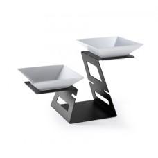 Rosseto® Swan Multi-Level Black Matte Riser System & 2 Porcelain Bowls
