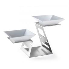 Rosseto® Swan Multi-Level Stainless Steel Riser System & 2 Porcelain Bowls